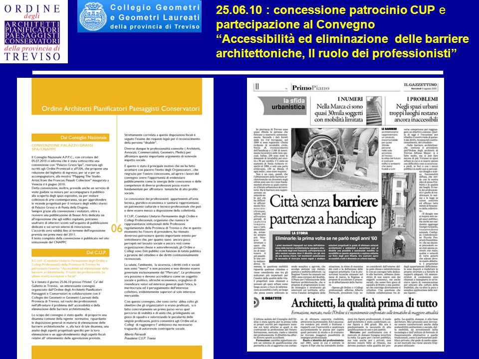 """25.06.10 : concessione patrocinio CUP e partecipazione al Convegno """"Accessibilità ed eliminazione delle barriere architettoniche, Il ruolo dei profess"""