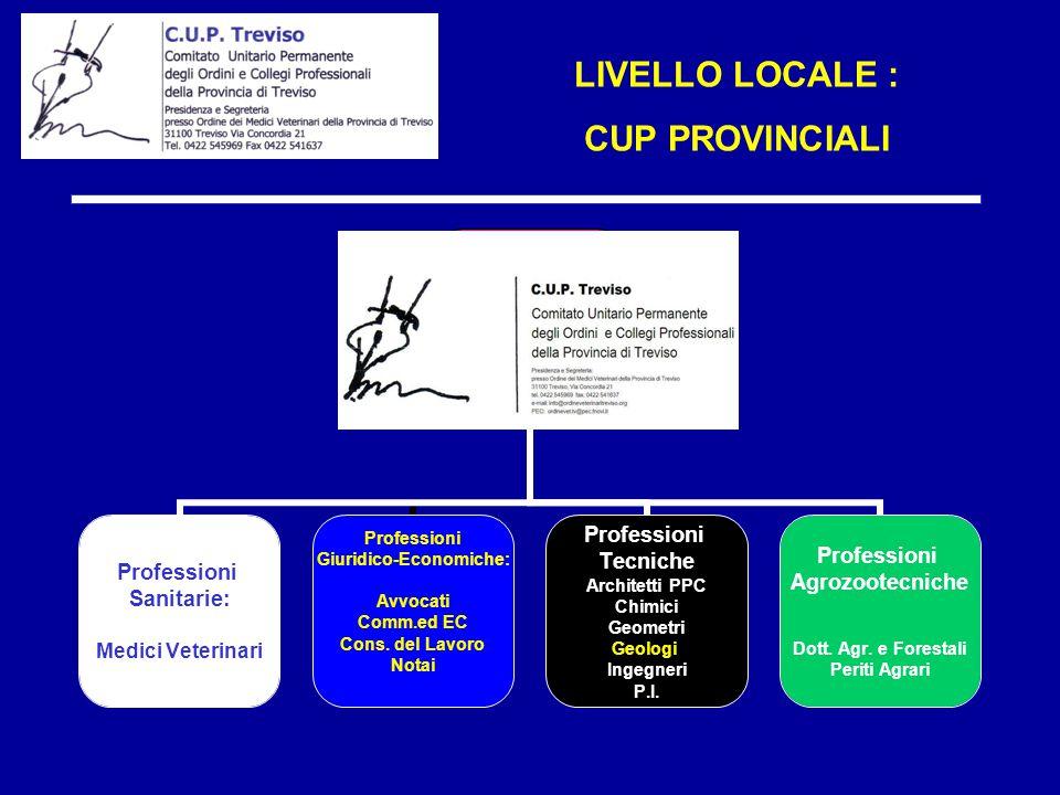 LIVELLO LOCALE : CUP PROVINCIALI C.U.P. TREVISO Professioni Sanitarie: Medici Veterinari Professioni Giuridico-Economiche: Avvocati Comm.ed EC Cons. d