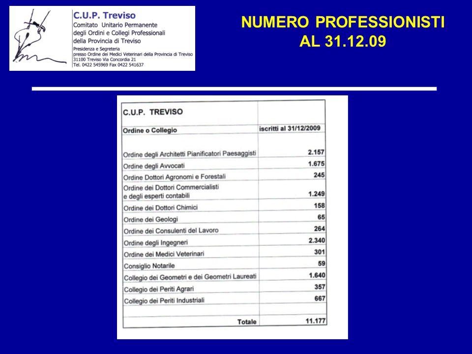 NUMERO PROFESSIONISTI AL 31.12.09