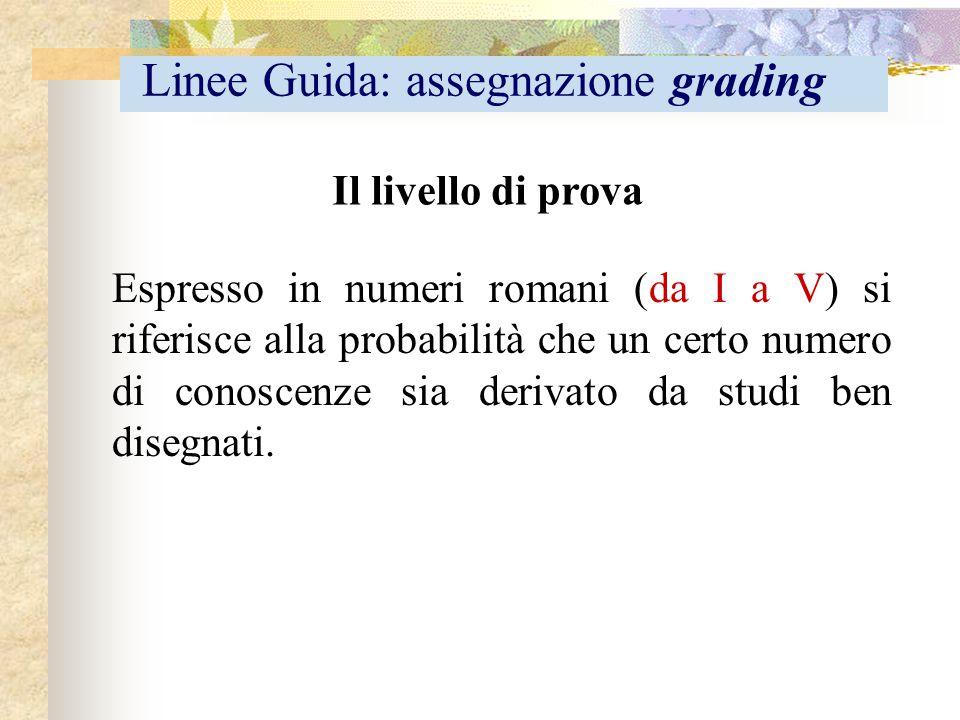 Il livello di prova Espresso in numeri romani (da I a V) si riferisce alla probabilità che un certo numero di conoscenze sia derivato da studi ben dis