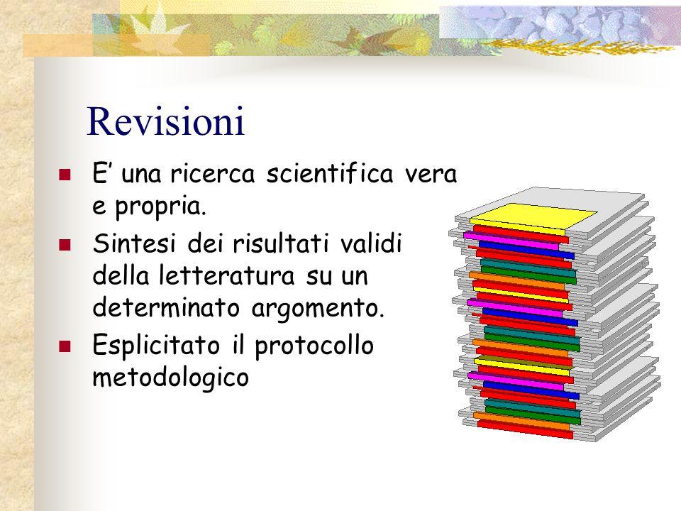 Revisioni E' una ricerca scientifica vera e propria. Sintesi dei risultati validi della letteratura su un determinato argomento. Esplicitato il protoc
