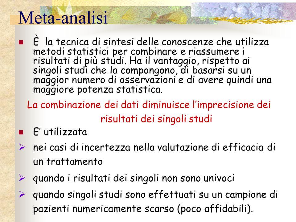 Meta-analisi È la tecnica di sintesi delle conoscenze che utilizza metodi statistici per combinare e riassumere i risultati di più studi. Ha il vantag