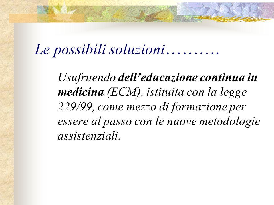 Le possibili soluzioni ………. Usufruendo dell'educazione continua in medicina (ECM), istituita con la legge 229/99, come mezzo di formazione per essere