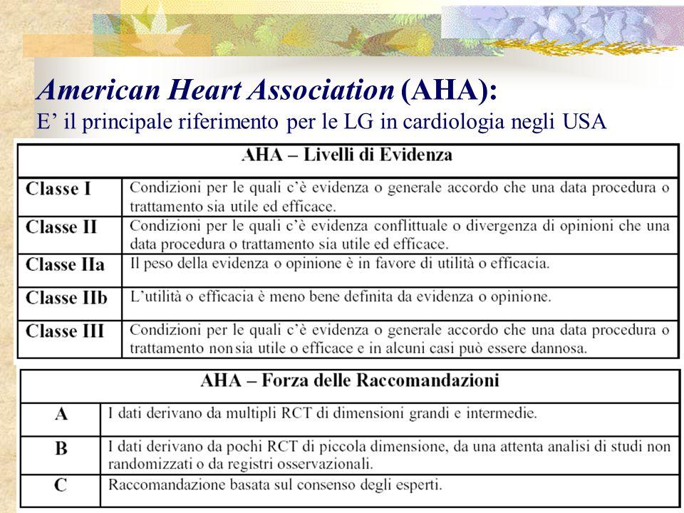 American Heart Association (AHA): E' il principale riferimento per le LG in cardiologia negli USA