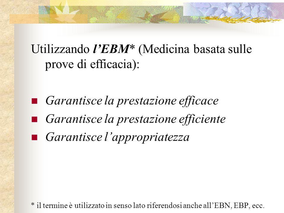 Utilizzando l'EBM* (Medicina basata sulle prove di efficacia): Garantisce la prestazione efficace Garantisce la prestazione efficiente Garantisce l'ap