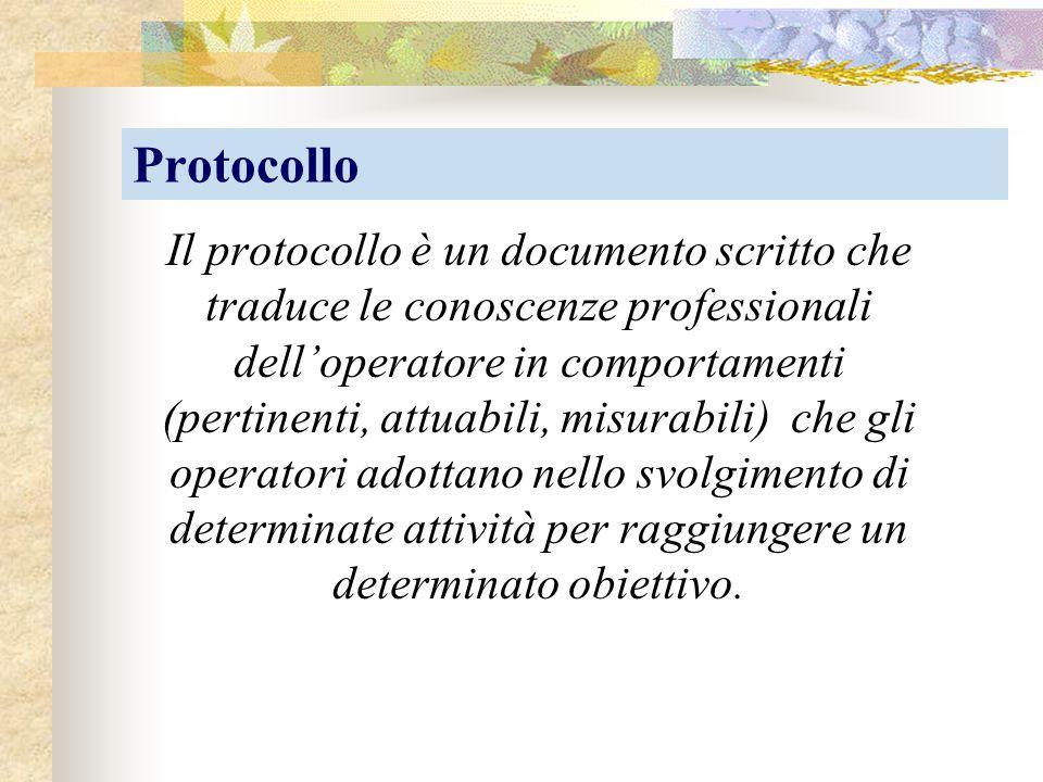Protocollo Il protocollo è un documento scritto che traduce le conoscenze professionali dell'operatore in comportamenti (pertinenti, attuabili, misura