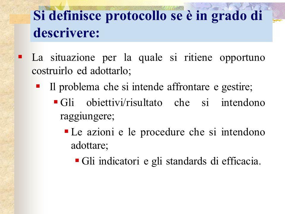 Si definisce protocollo se è in grado di descrivere:  La situazione per la quale si ritiene opportuno costruirlo ed adottarlo;  Il problema che si i