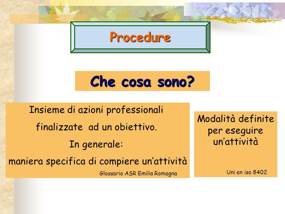 Procedure Che cosa sono? Insieme di azioni professionali finalizzate ad un obiettivo. In generale: maniera specifica di compiere un'attività Glossario