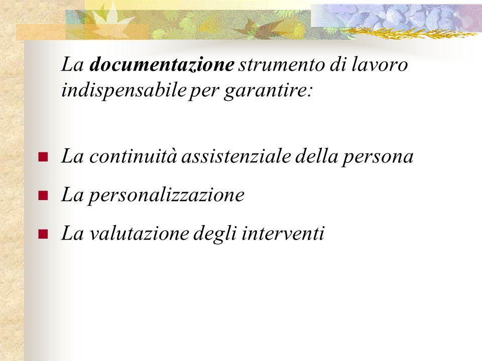La documentazione strumento di lavoro indispensabile per garantire: La continuità assistenziale della persona La personalizzazione La valutazione degl