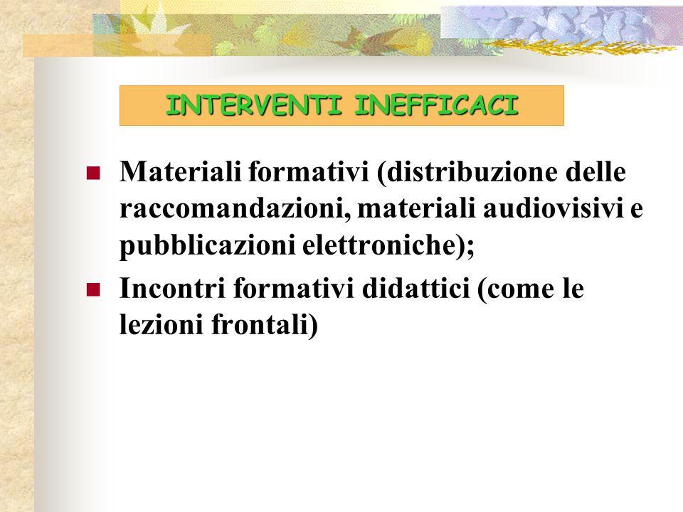 Materiali formativi (distribuzione delle raccomandazioni, materiali audiovisivi e pubblicazioni elettroniche); Incontri formativi didattici (come le l