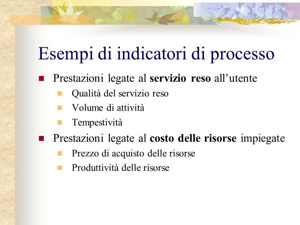 Esempi di indicatori di processo Prestazioni legate al servizio reso all'utente Qualità del servizio reso Volume di attività Tempestività Prestazioni