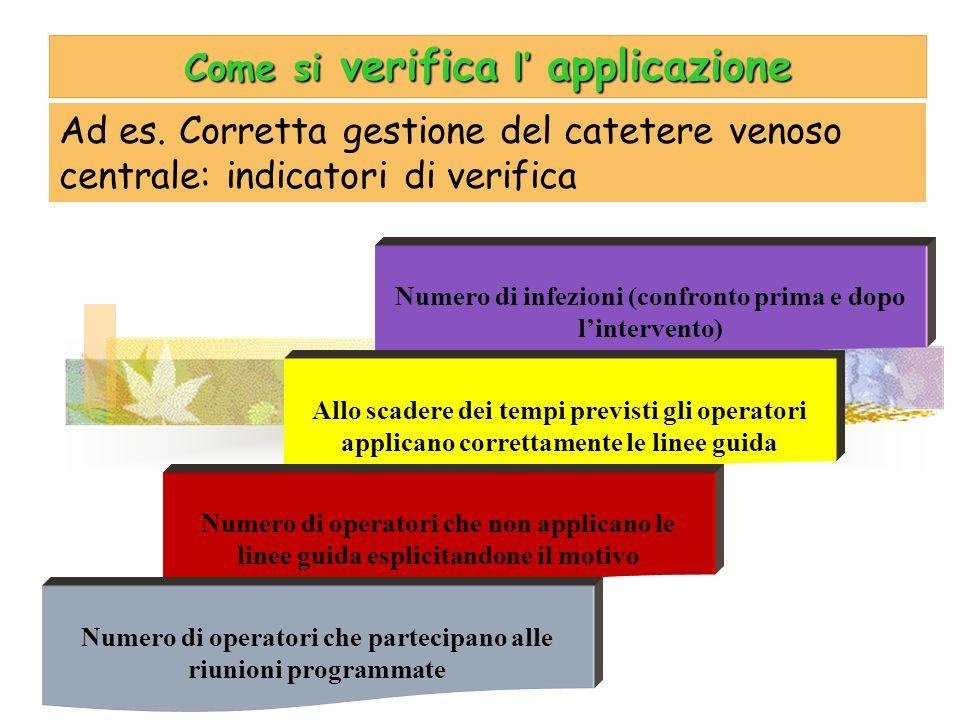 Come si verifica l' applicazione Ad es. Corretta gestione del catetere venoso centrale: indicatori di verifica Numero di infezioni (confronto prima e