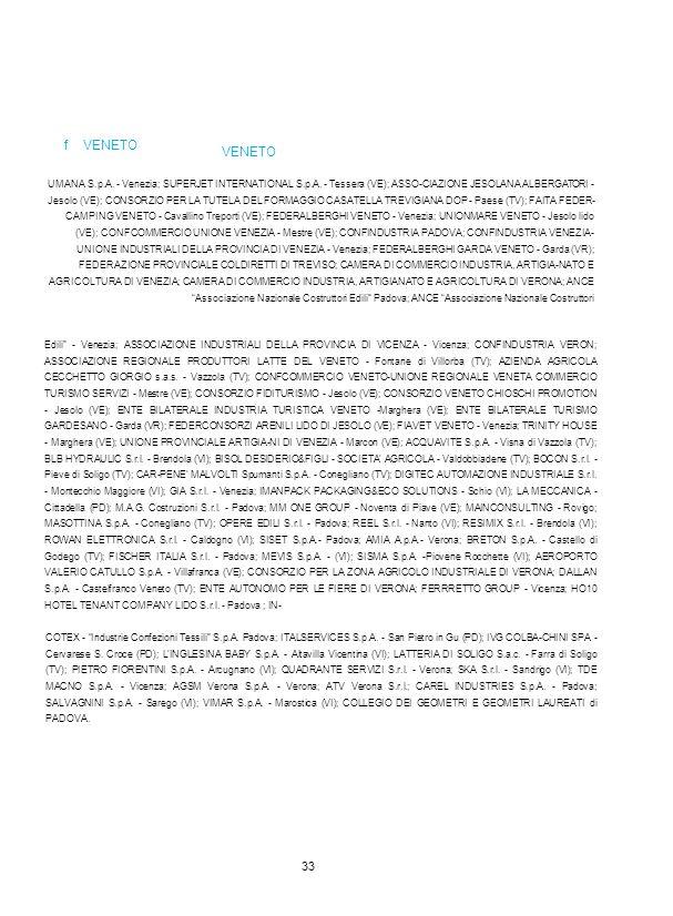 VENETO f VENETO UMANA S.p.A. - Venezia; SUPERJET INTERNATIONAL S.p.A. - Tessera (VE); ASSO-CIAZIONE JESOLANA ALBERGATORI - Jesolo (VE); CONSORZIO PER