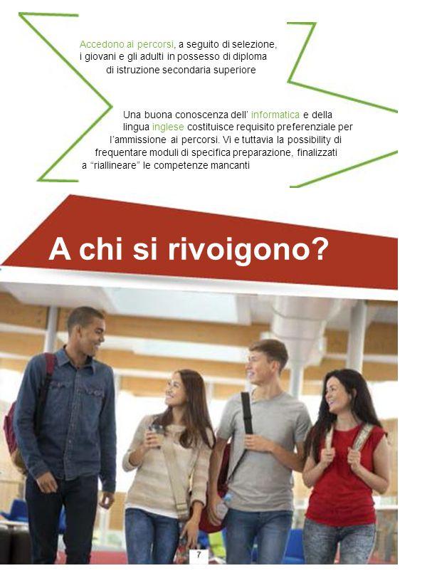 Accedono ai percorsi, a seguito di selezione, i giovani e gli adulti in possesso di diploma di istruzione secondaria superiore Una buona conoscenza de
