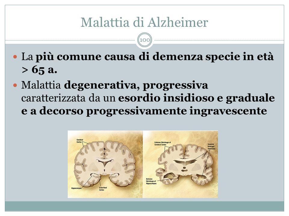 Malattia di Alzheimer La più comune causa di demenza specie in età > 65 a. Malattia degenerativa, progressiva caratterizzata da un esordio insidioso e