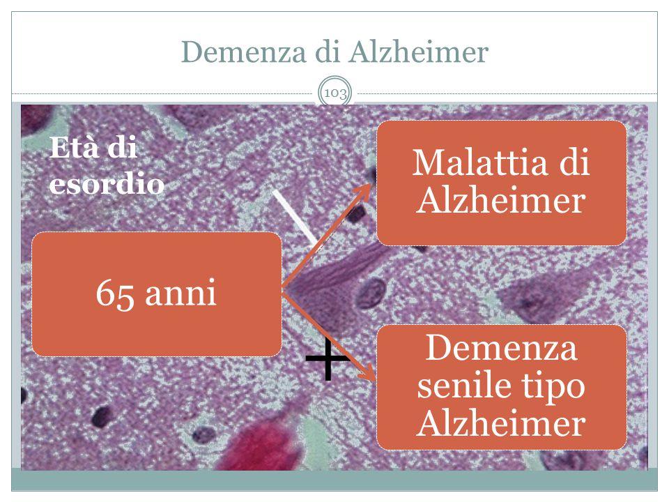 Demenza di Alzheimer 65 anni Malattia di Alzheimer Demenza senile tipo Alzheimer Età di esordio  + 103