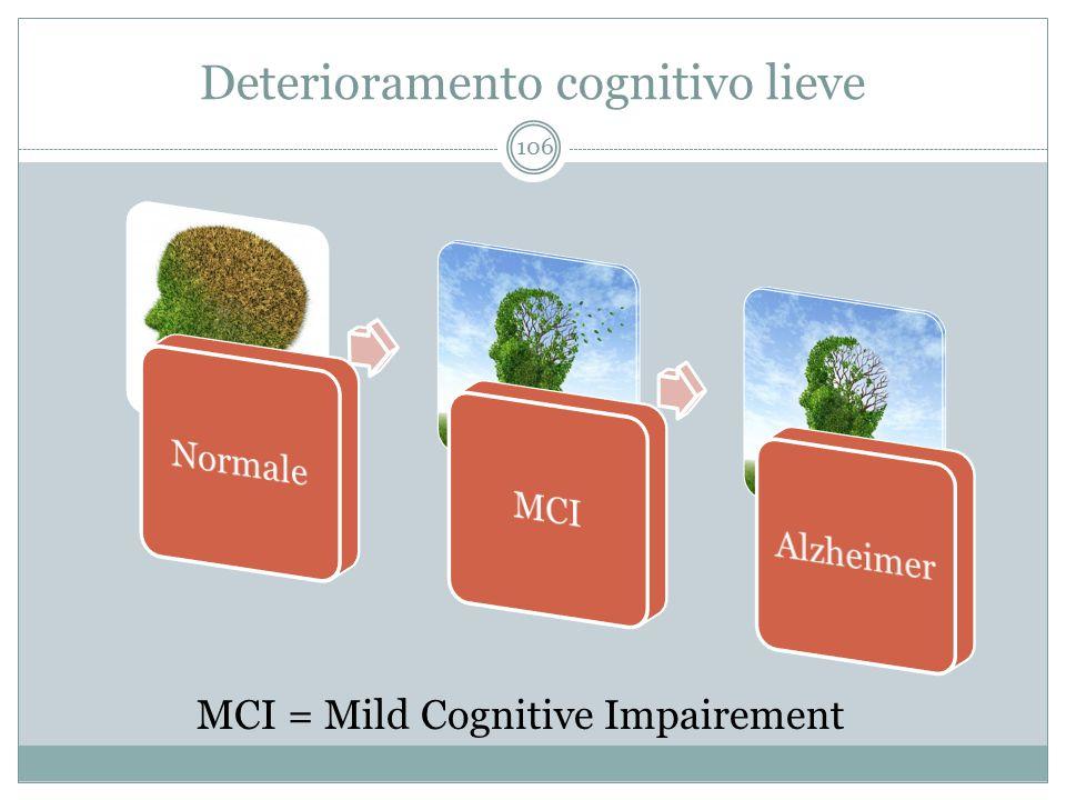 Deterioramento cognitivo lieve MCI = Mild Cognitive Impairement 106