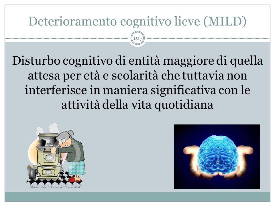Deterioramento cognitivo lieve (MILD) Disturbo cognitivo di entità maggiore di quella attesa per età e scolarità che tuttavia non interferisce in mani