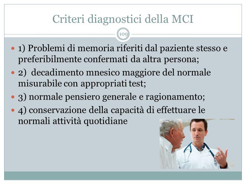 Criteri diagnostici della MCI 1) Problemi di memoria riferiti dal paziente stesso e preferibilmente confermati da altra persona; 2) decadimento mnesic