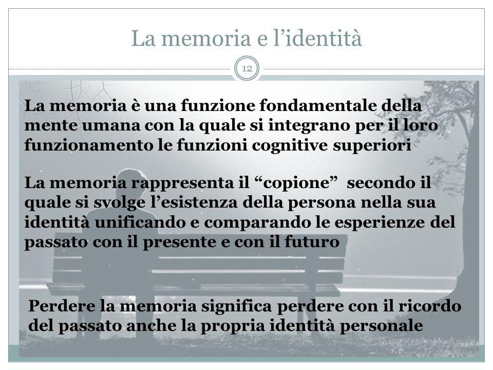 La memoria e l'identità La memoria è una funzione fondamentale della mente umana con la quale si integrano per il loro funzionamento le funzioni cogni