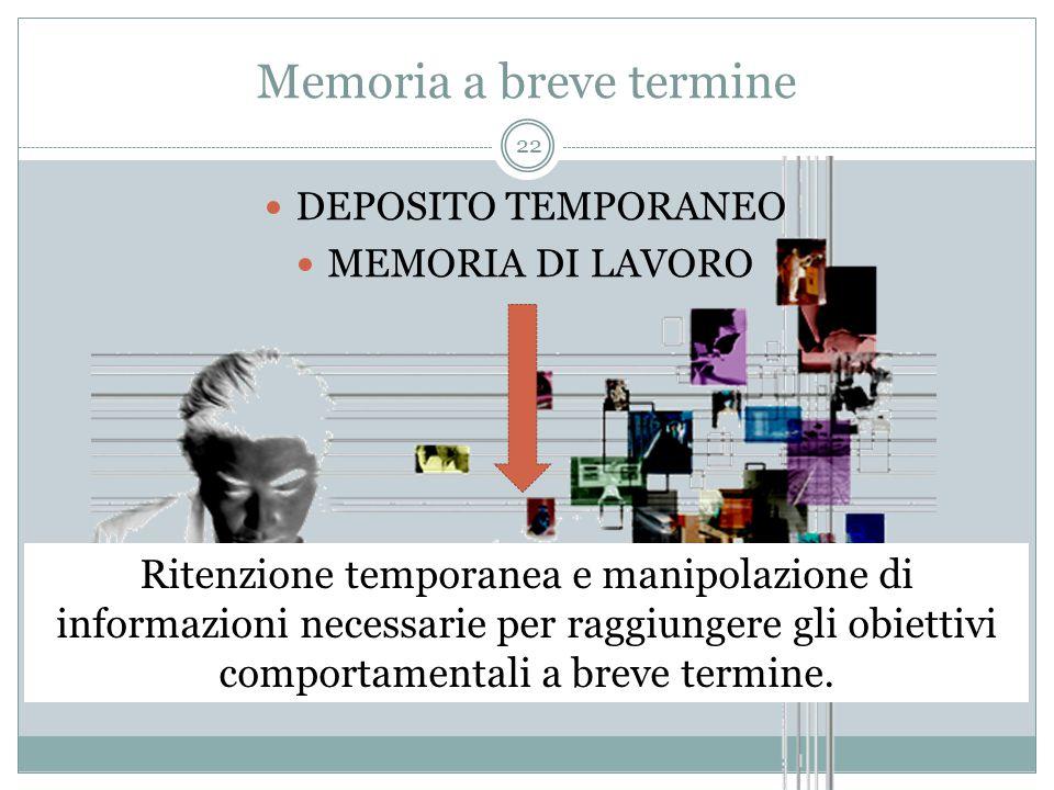 Memoria a breve termine DEPOSITO TEMPORANEO MEMORIA DI LAVORO Ritenzione temporanea e manipolazione di informazioni necessarie per raggiungere gli obi