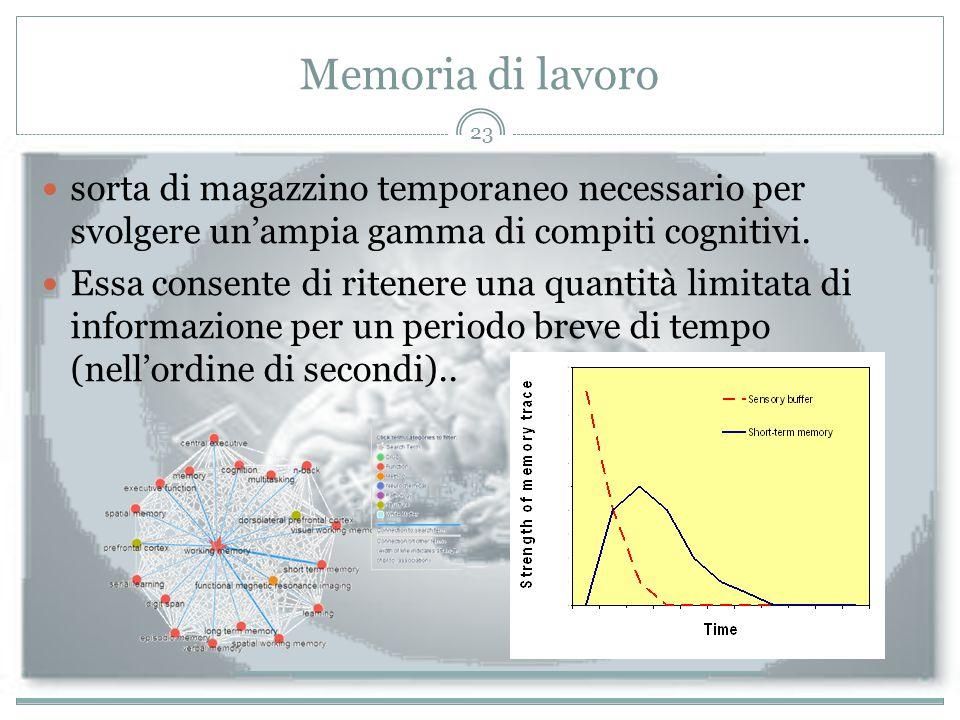 Memoria di lavoro sorta di magazzino temporaneo necessario per svolgere un'ampia gamma di compiti cognitivi. Essa consente di ritenere una quantità li