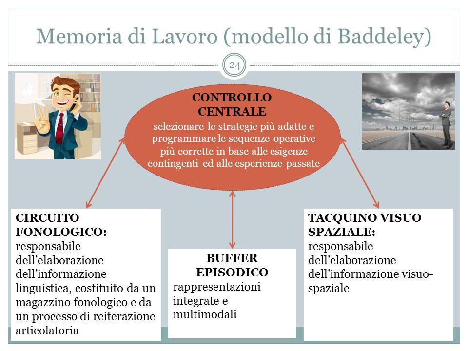Memoria di Lavoro (modello di Baddeley) CIRCUITO FONOLOGICO: responsabile dell'elaborazione dell'informazione linguistica, costituito da un magazzino