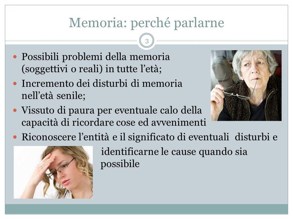 Memoria: perché parlarne Possibili problemi della memoria (soggettivi o reali) in tutte l'età; Incremento dei disturbi di memoria nell'età senile; Vis
