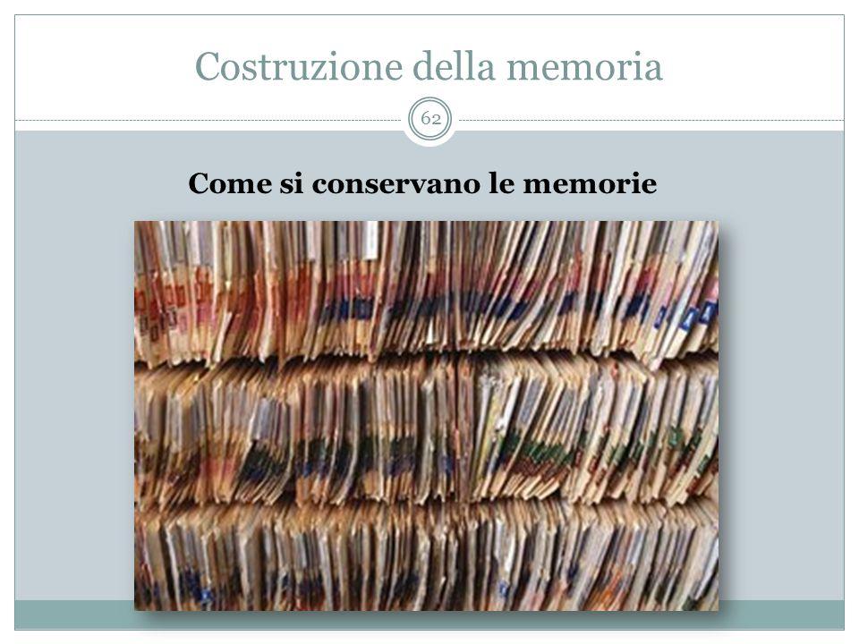 Costruzione della memoria Come si conservano le memorie 62