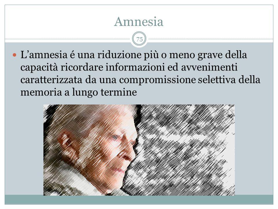 Amnesia L'amnesia é una riduzione più o meno grave della capacità ricordare informazioni ed avvenimenti caratterizzata da una compromissione selettiva