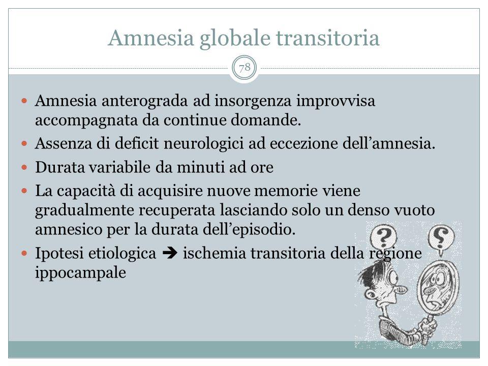Amnesia globale transitoria 78 Amnesia anterograda ad insorgenza improvvisa accompagnata da continue domande. Assenza di deficit neurologici ad eccezi