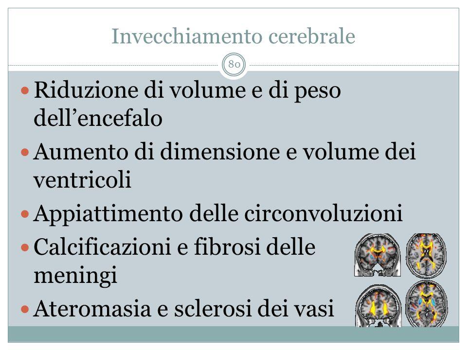 Invecchiamento cerebrale Riduzione di volume e di peso dell'encefalo Aumento di dimensione e volume dei ventricoli Appiattimento delle circonvoluzioni