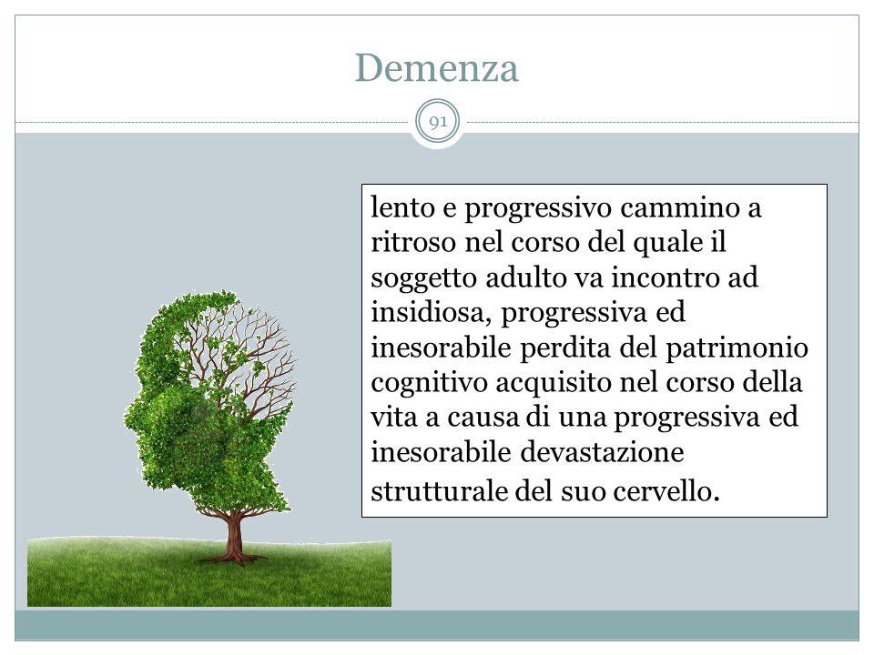 Demenza lento e progressivo cammino a ritroso nel corso del quale il soggetto adulto va incontro ad insidiosa, progressiva ed inesorabile perdita del