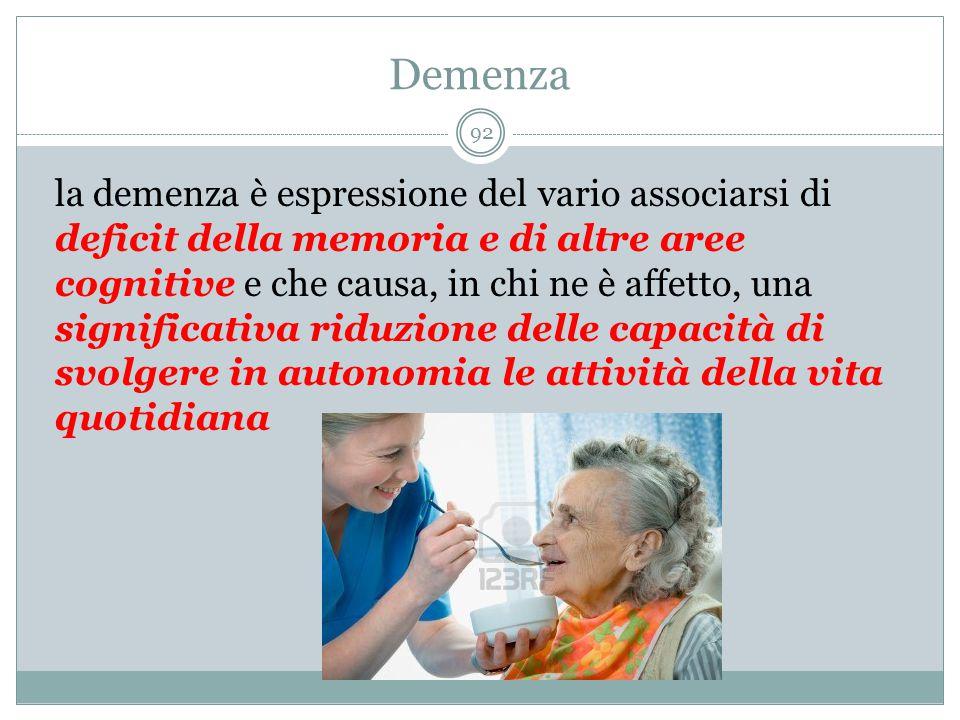 Demenza la demenza è espressione del vario associarsi di deficit della memoria e di altre aree cognitive e che causa, in chi ne è affetto, una signifi