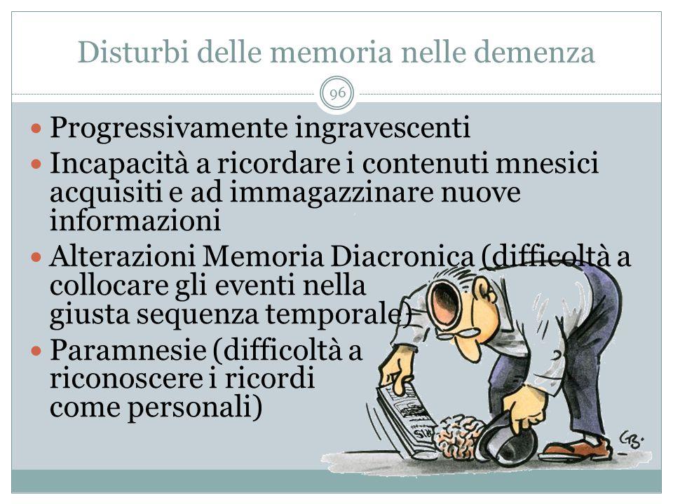 Disturbi delle memoria nelle demenza Progressivamente ingravescenti Incapacità a ricordare i contenuti mnesici acquisiti e ad immagazzinare nuove info