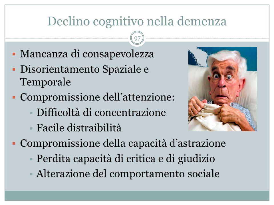 Declino cognitivo nella demenza  Mancanza di consapevolezza  Disorientamento Spaziale e Temporale  Compromissione dell'attenzione:  Difficoltà di