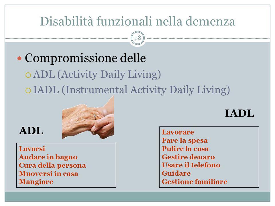 Disabilità funzionali nella demenza Compromissione delle  ADL (Activity Daily Living)  IADL (Instrumental Activity Daily Living) Lavarsi Andare in b