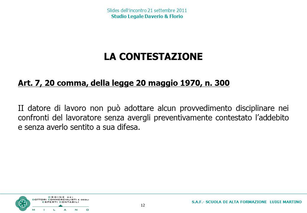 12 S.A.F.- SCUOLA DI ALTA FORMAZIONE LUIGI MARTINO Slides dell'incontro 21 settembre 2011 Studio Legale Daverio & Florio LA CONTESTAZIONE Art. 7, 20 c