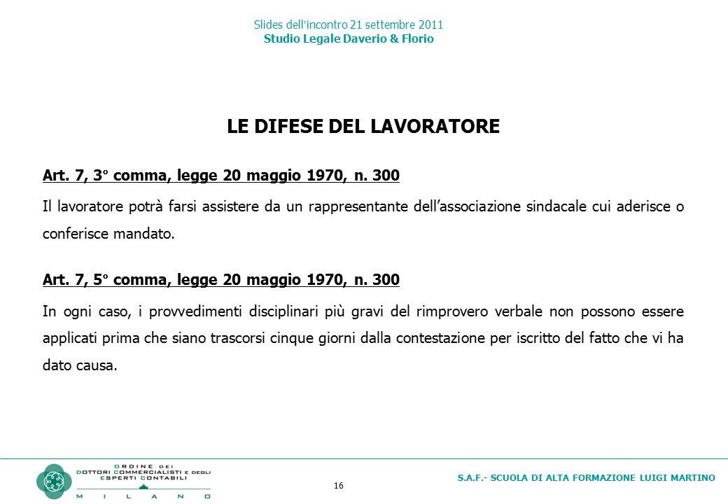 16 S.A.F.- SCUOLA DI ALTA FORMAZIONE LUIGI MARTINO Slides dell'incontro 21 settembre 2011 Studio Legale Daverio & Florio LE DIFESE DEL LAVORATORE Art.