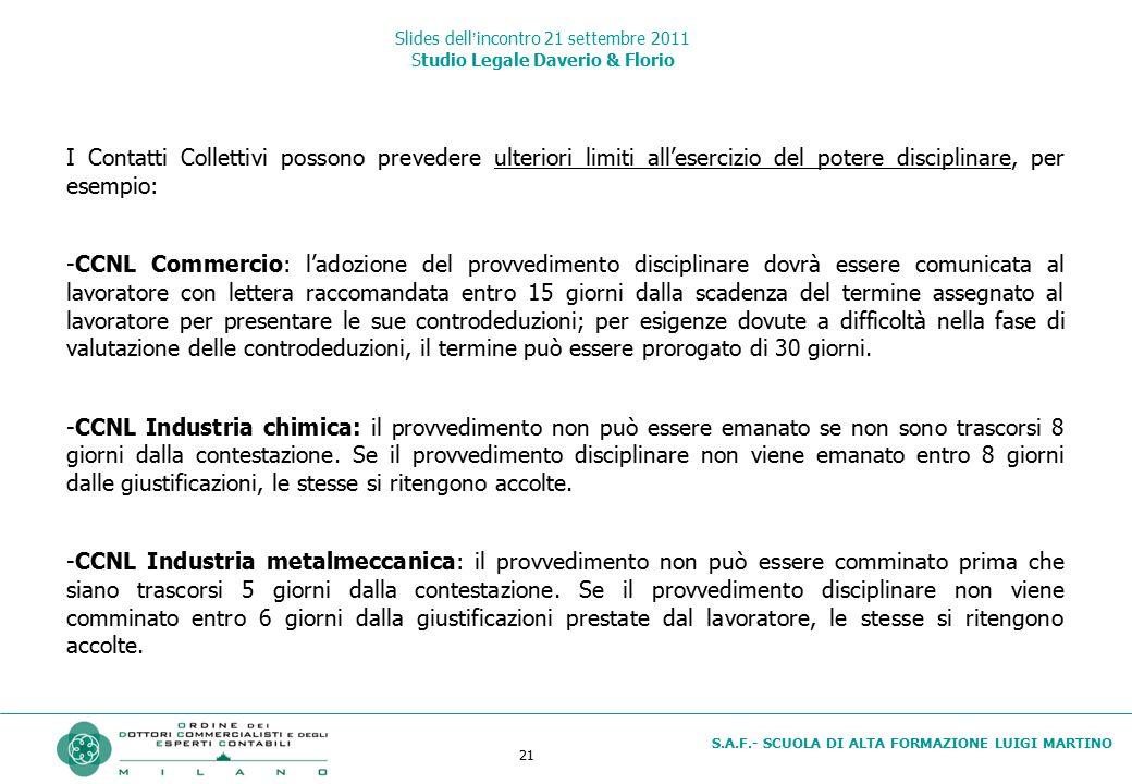 21 S.A.F.- SCUOLA DI ALTA FORMAZIONE LUIGI MARTINO Slides dell'incontro 21 settembre 2011 Studio Legale Daverio & Florio I Contatti Collettivi possono