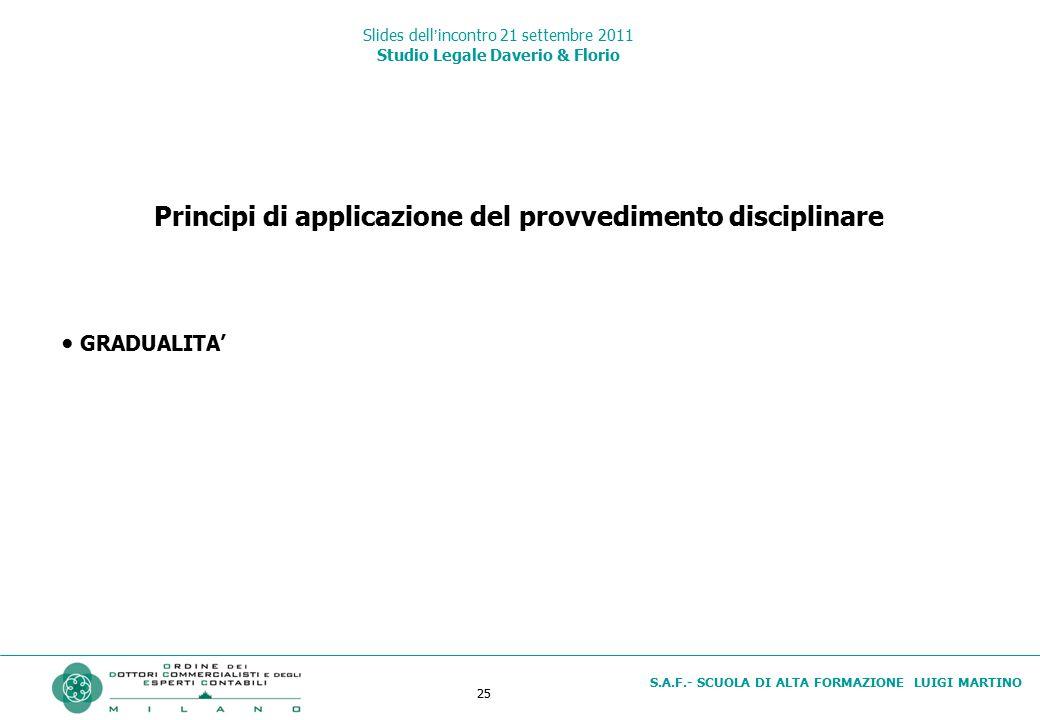25 S.A.F.- SCUOLA DI ALTA FORMAZIONE LUIGI MARTINO Slides dell'incontro 21 settembre 2011 Studio Legale Daverio & Florio Principi di applicazione del