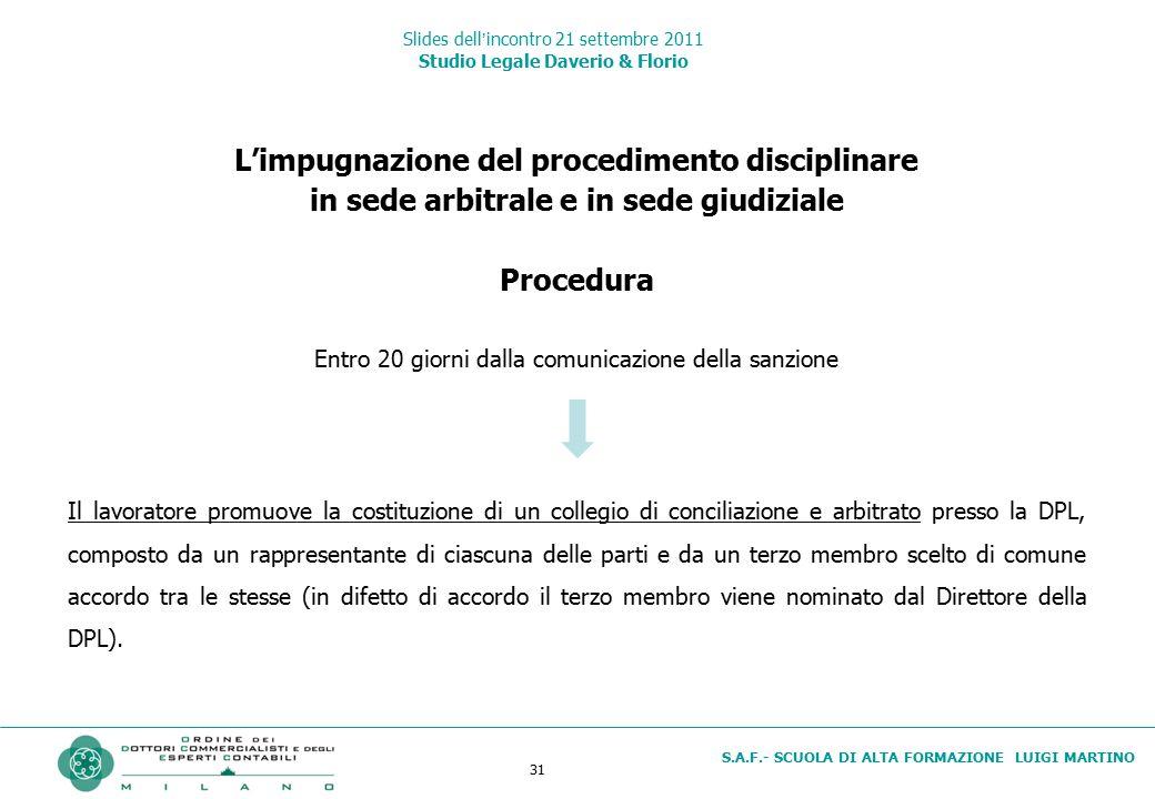 31 S.A.F.- SCUOLA DI ALTA FORMAZIONE LUIGI MARTINO Slides dell'incontro 21 settembre 2011 Studio Legale Daverio & Florio L'impugnazione del procedimen