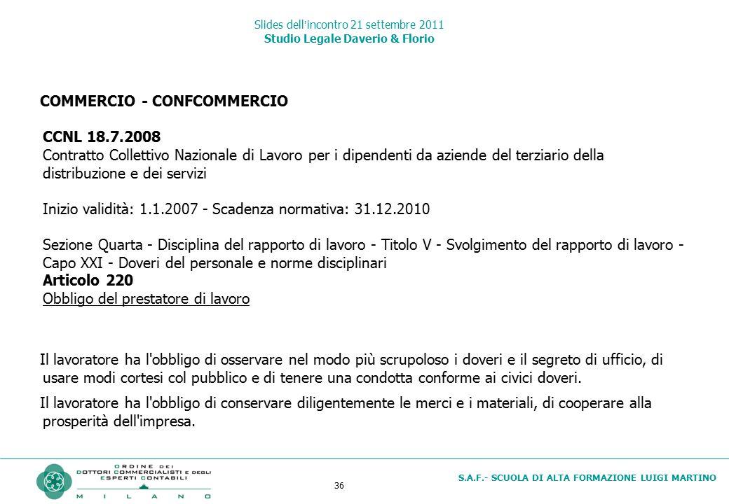 36 S.A.F.- SCUOLA DI ALTA FORMAZIONE LUIGI MARTINO Slides dell'incontro 21 settembre 2011 Studio Legale Daverio & Florio COMMERCIO - CONFCOMMERCIO CCN