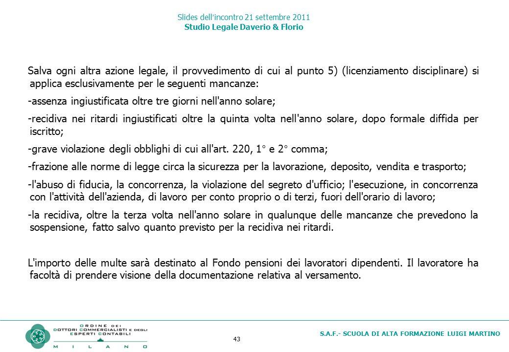 43 S.A.F.- SCUOLA DI ALTA FORMAZIONE LUIGI MARTINO Slides dell'incontro 21 settembre 2011 Studio Legale Daverio & Florio Salva ogni altra azione legal