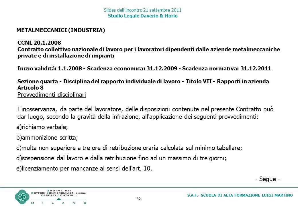 46 S.A.F.- SCUOLA DI ALTA FORMAZIONE LUIGI MARTINO Slides dell'incontro 21 settembre 2011 Studio Legale Daverio & Florio METALMECCANICI (INDUSTRIA) CC