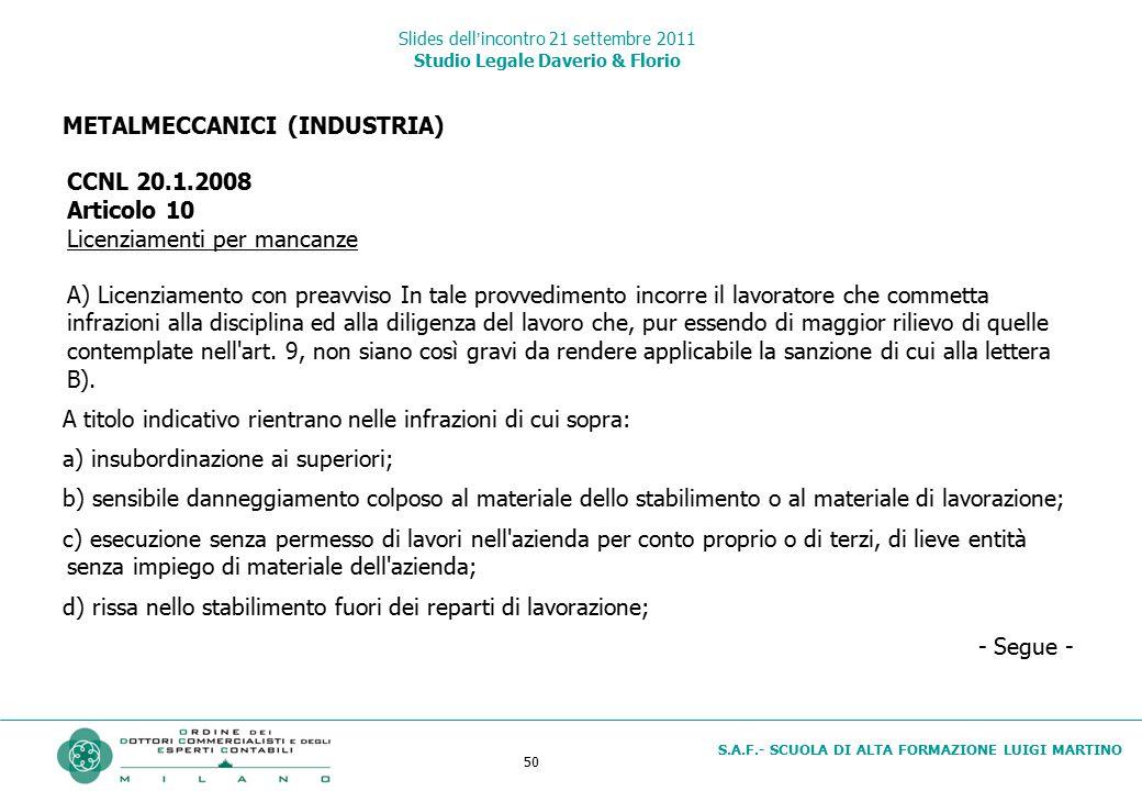 50 S.A.F.- SCUOLA DI ALTA FORMAZIONE LUIGI MARTINO Slides dell'incontro 21 settembre 2011 Studio Legale Daverio & Florio METALMECCANICI (INDUSTRIA) CC