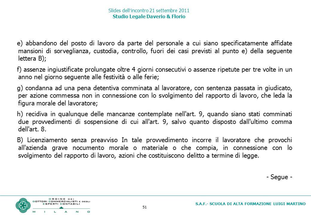 51 S.A.F.- SCUOLA DI ALTA FORMAZIONE LUIGI MARTINO Slides dell'incontro 21 settembre 2011 Studio Legale Daverio & Florio e) abbandono del posto di lav
