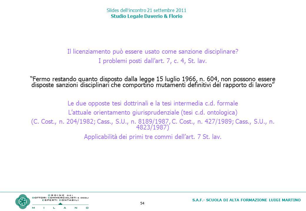54 S.A.F.- SCUOLA DI ALTA FORMAZIONE LUIGI MARTINO Slides dell'incontro 21 settembre 2011 Studio Legale Daverio & Florio Il licenziamento può essere u