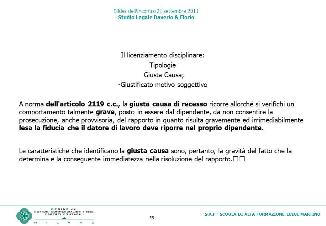 55 S.A.F.- SCUOLA DI ALTA FORMAZIONE LUIGI MARTINO Slides dell'incontro 21 settembre 2011 Studio Legale Daverio & Florio Il licenziamento disciplinare