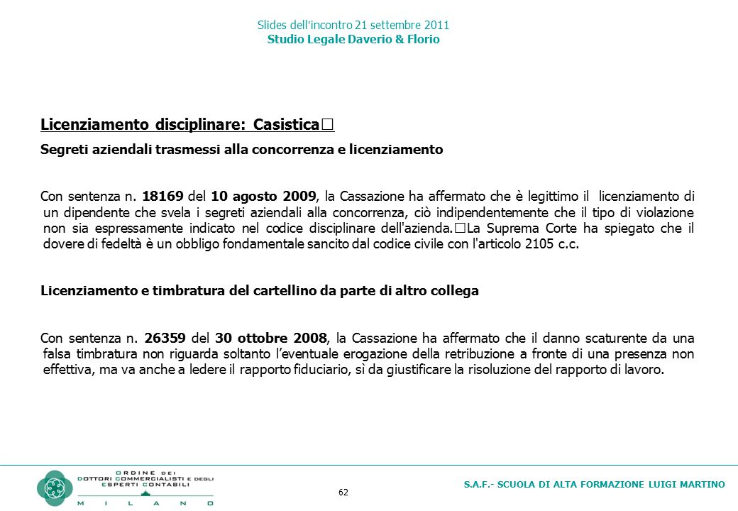 62 S.A.F.- SCUOLA DI ALTA FORMAZIONE LUIGI MARTINO Slides dell'incontro 21 settembre 2011 Studio Legale Daverio & Florio Licenziamento disciplinare: C